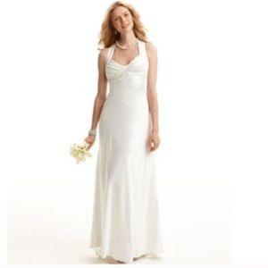 Calvin Klein satin slip dress formal gown ivory 6